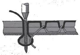Переплетение ниток челночного стежка